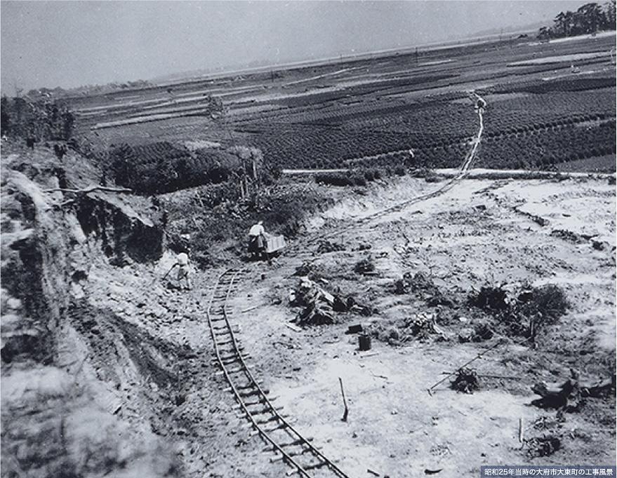 昭和25年当時の大府市大東町の工事風景